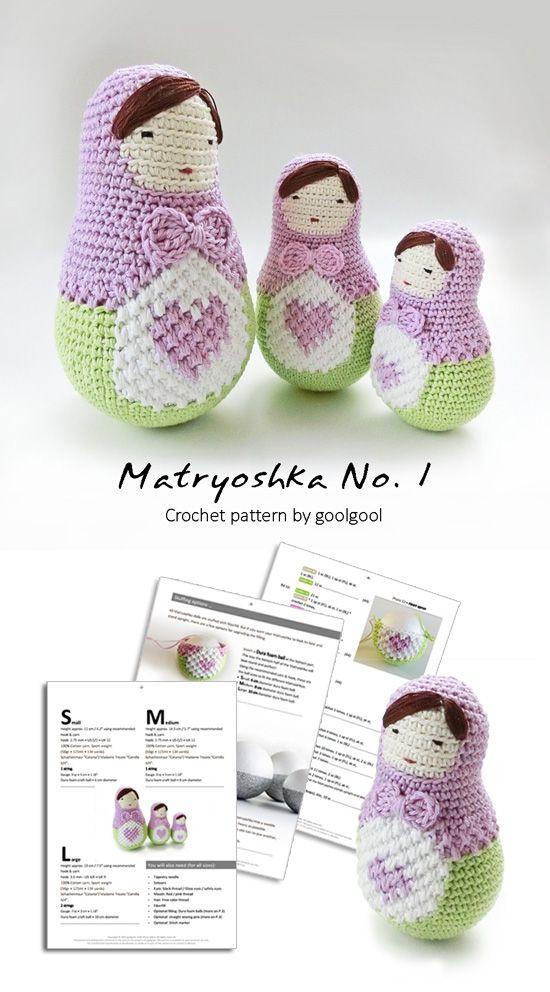 NEW pattern - Ela the Matryoshka doll (and her whole family:) ). Amigurumi doll pattern, crochet pattern, Babushka doll.