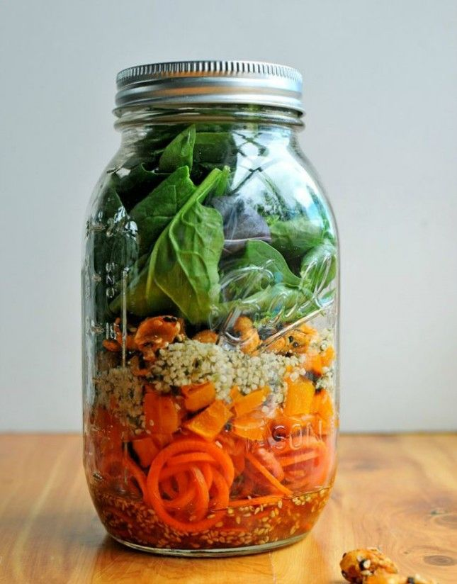 This Mason Jar Carrot Noodle Salad is vegan + FULL of protein.