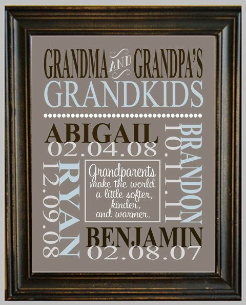 143341200611321095 Personalized GRANDPARENT PRINT   with Grandchildrens Names and Birthdates   Completely Customizable   Christmas Gift   Anniversary Gift. $14.00, via Etsy. Ok just added this to the grandparents Christmas gift