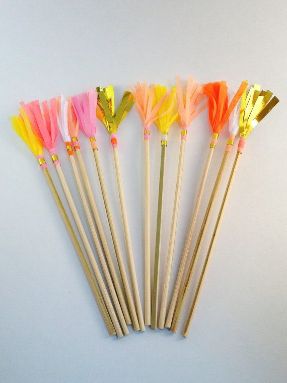 Set of 12  medium fringe drink stirrers  by SparkleMotionDecor