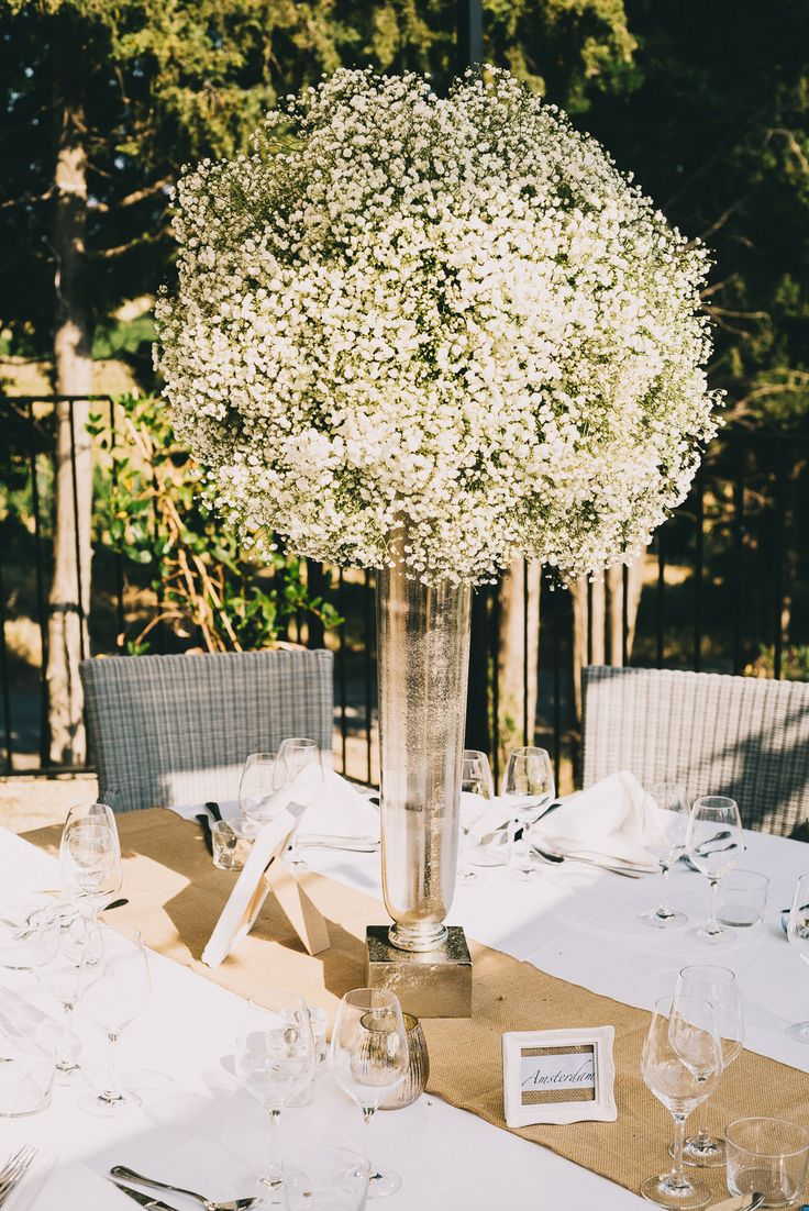 Gypsophila Centrepiece | Luxury Destination Wedding | Neutral Colour Palette | Chateau Les Carrasses South of France | Modern Vintage Weddings | http://www.rockmywedding.co.uk/megan-joshua/
