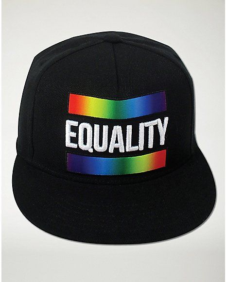 eba0589ef98 Black Rainbow Equality Snapback Hat - Spencer s