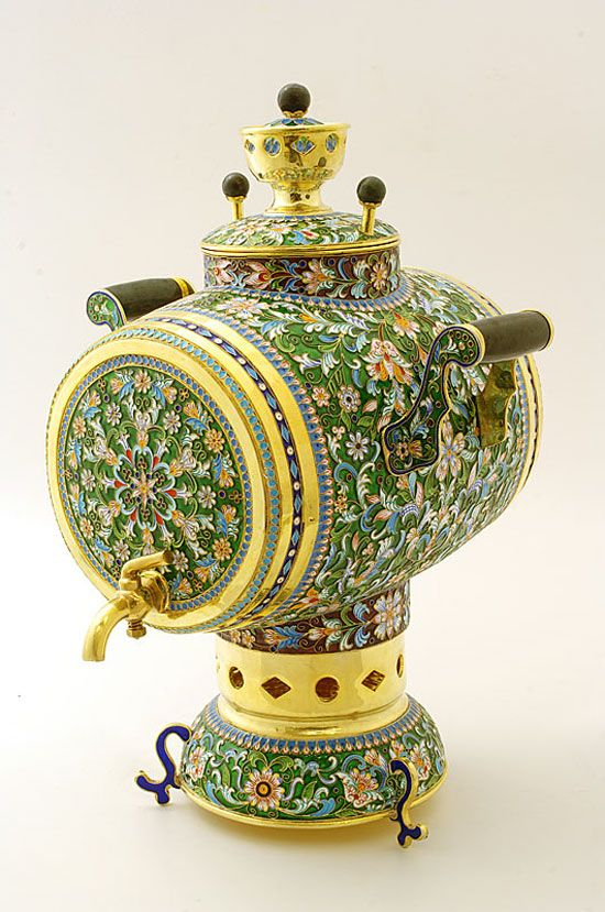 Russian Silver & Enamel Green - Samovar-This isn't Polish pottery obviously, but I didn't know where else to put it!  It's so pretty.  ;p