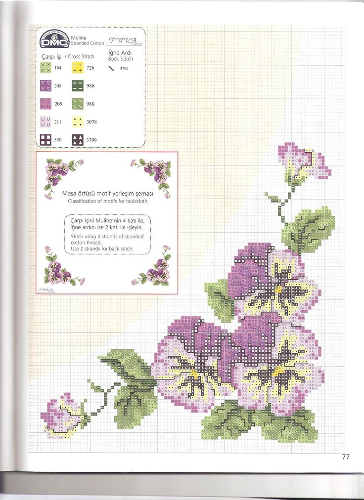 Cross-stitch Pansies Tablecloth...    masa örtüsü-1şema-a