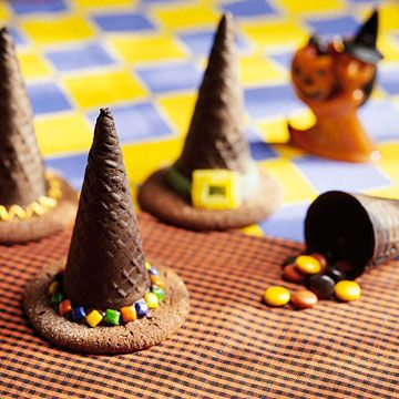 Upside-down chocolate ice cream cones create a pointy witch's hat, perfect for stashing a candy surprise.