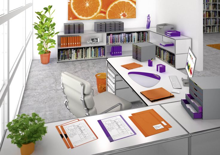 Vivid orange combined with elegant purple will create an environment full of inspiration. Orange is known for its energising properties and inspires you with ideas. Purple is calming and can assist concentration. The perfect balance for a creative office day.