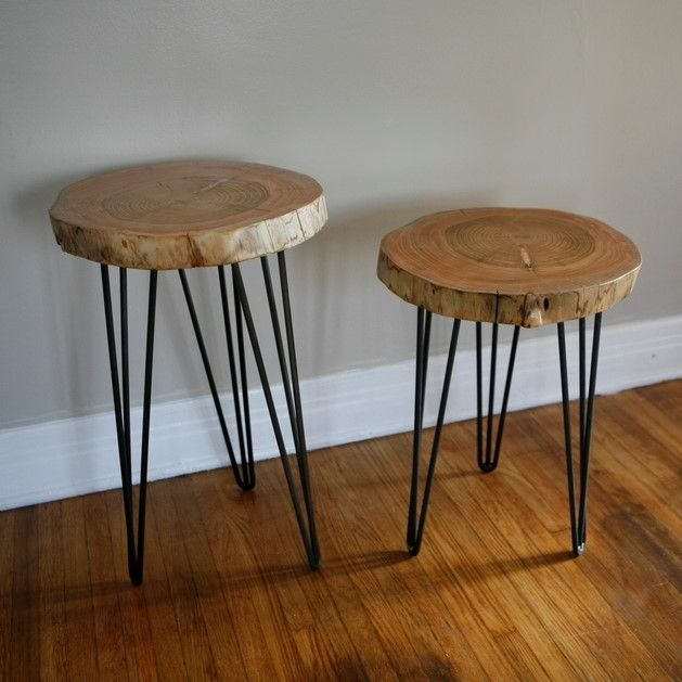 DIY End Table Ideas: Top 5 Easy and Cheap Projects - FROY BLOG - Tree Stump End Table Hairpin Legs