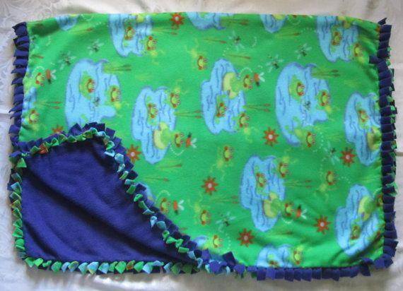 Cozy Frog fleece tie blanket/baby by BriersBlankets on Etsy