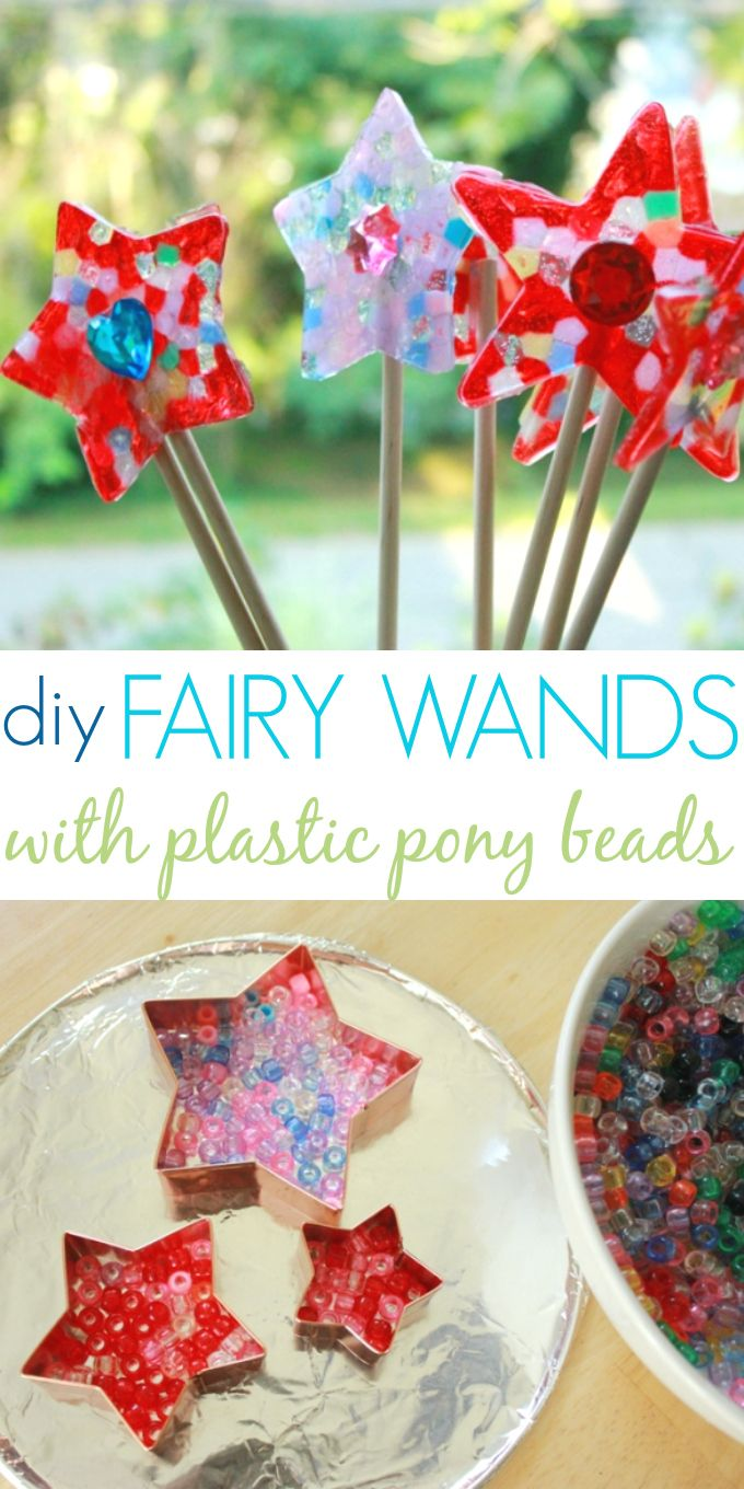 LOVE these melted bead fairy wands! #DIY Twinkle Fairy Wands Made with Melted Pony Beads. #preschool #kidscrafts