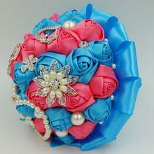 Aangepaste Turquoise Blue & Coral roze Kunstmatige bruidsboeketten bead crystal parel sieraden koningsblauw bloem bruidsboeketten(China (Mainland))