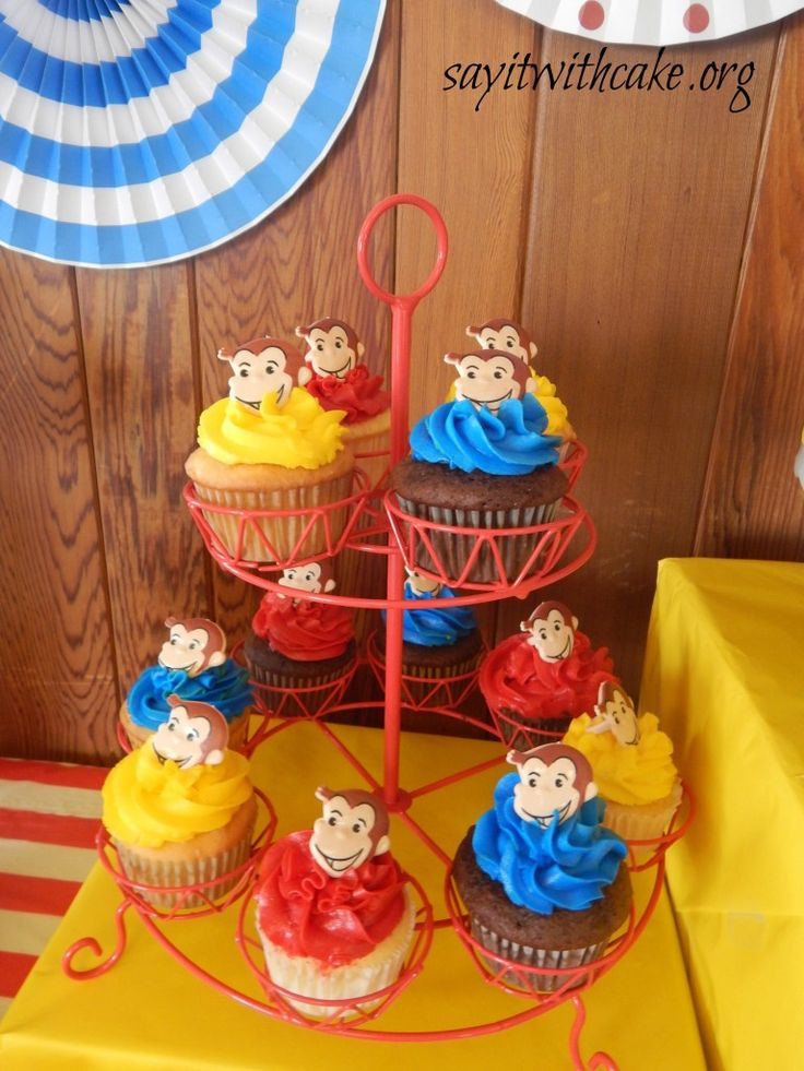 Curious George cupcakes | www.sayitwithcake.org | #curiousgeorge