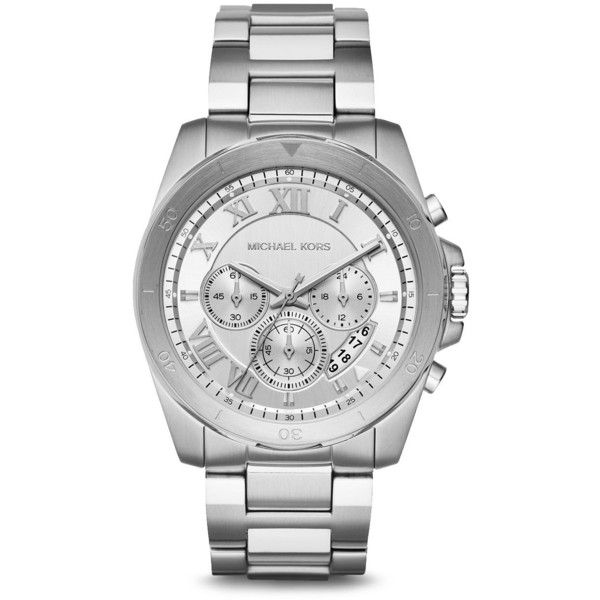 Michael Kors Brecken Watch, 44mm ($221) ❤ liked on Polyvore featuring men's fashion, men's jewelry, men's watches, silver, mens silver watches and michael kors mens watches