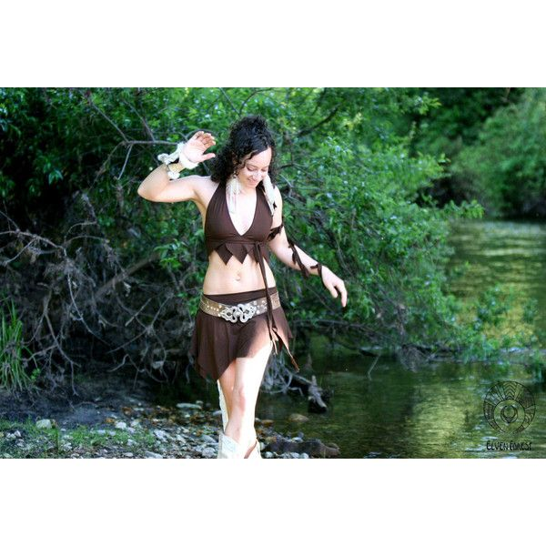 Isis Swimsuit in Brown (£76) via Polyvore featuring swimwear, dark olive, women's clothing, triangle swim wear, bathing suit swimwear, boy short swimsuit, boy shorts swimwear and sexy swim suits