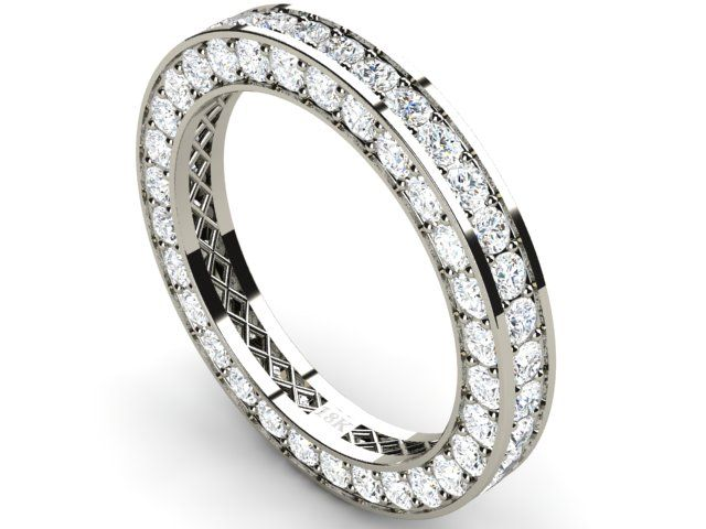 Full Pave Eternity Diamond Ring 18k White Gold 2.72 ct Vs1/H - Paul Jewelry