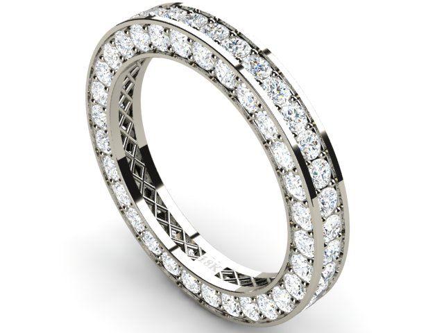 Full Pave Eternity Diamond Ring 18k White Gold 2.72 ct Vs1/H - Paul Jewelry
