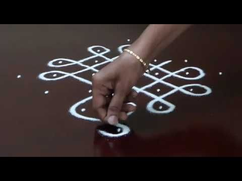 beautiful lotus kolam designs with 11 dots || easy rangoli designs with dots || muggulu designs - YouTube