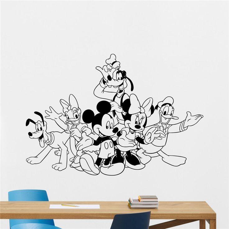 Mickey Minnie Mouse Donald Duck Goofy Pluto Vinyl Wall Decal Boy Cartoons Vinyl Sticker Baby Girl Kids Room Wall Sticker X340