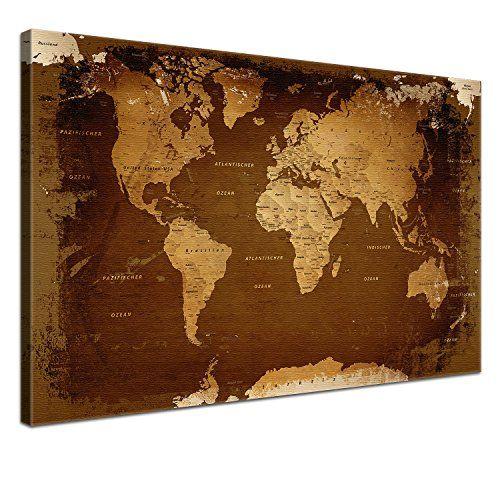 LanaKK Carte du monde Impression sur toile et châssis avec tableau arrière en liège Tableau aide-mémoire pour globe-trotters Aspect rétro…