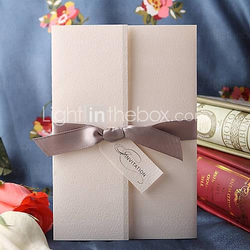Simple Design Tri-folded Wedding Invitation With Grey Ribbon (Set of 50)