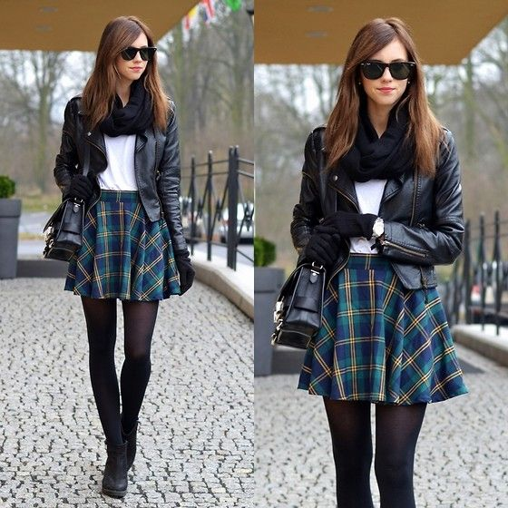 Women's winter spring fashion 2014 Chicwish Green Plaid Skirt, Sheinside Faux Leather Jacket