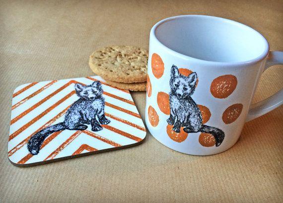 Orange Fox mug coaster set  fox housewarming by BitterLimeDesigns