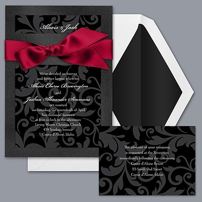 THINK I FOUND MY INVITES FOR THE WEDDING!!! LOVE THE ALL BLACK W/ RED RIBBON