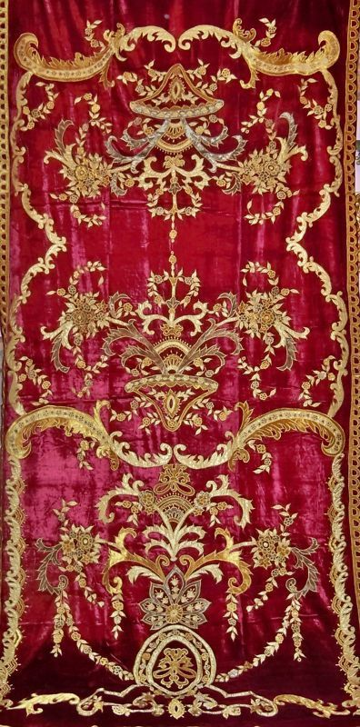 Italian BELLESA Embroidered Silk Velvet Fabric Drapes Panel Crimson Gold