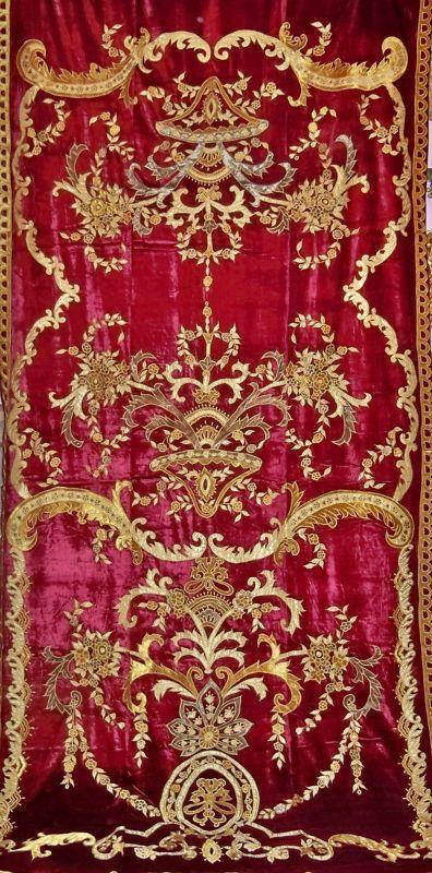 Italian BELLESA Embroidered Silk Velvet Fabric Drapes Panel Crimson Gold