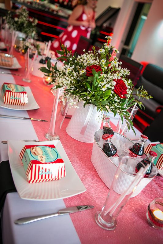 1950's Vintage Rock a Billy Wedding, Wedding Planner Bristol, http://www.mulberryweddingsandevents.co.uk http://www.danielsprackmanphotography.co.uk - The Park Hotel Falfield. Red and white wedding theme. Red and Black wedding theme, Retro diner party theme. Cocktail bar wedding. Coca cola, Coke,