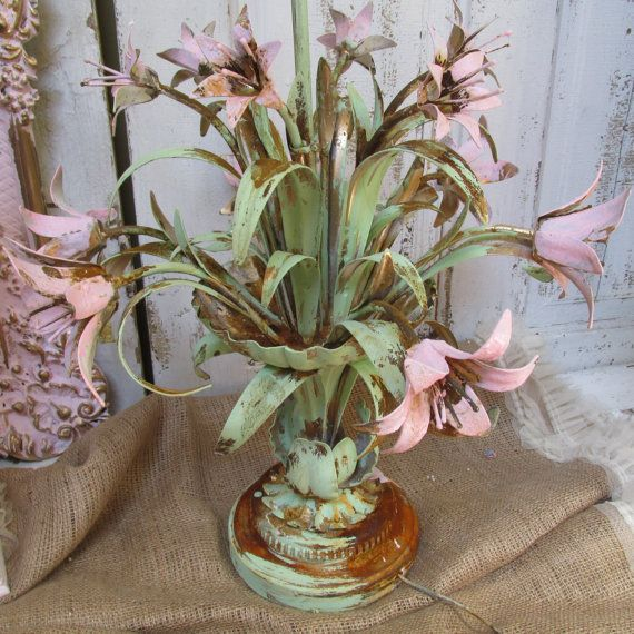 Rusty toleware table lamp hand painted pink green large shabby cottage chic metal lighting home decor anita spero