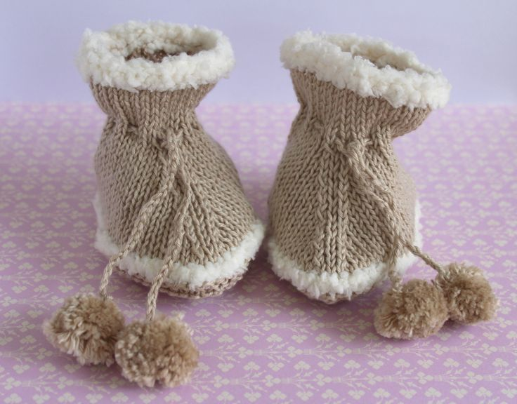 Baby Xmas Gift, Ugg Shoes, Baby Ugg Booties, Hand Knit Booties, Fleecy Booties, Snug Booties, Beige Booties, Cute Crib Shoes by Pinknitting on Etsy