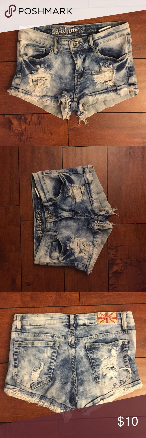 Blue tie-dye Jean shorts size medium Jeans are a size medium. Can fit a size 3 to 5 in juniors Shorts Jean Shorts