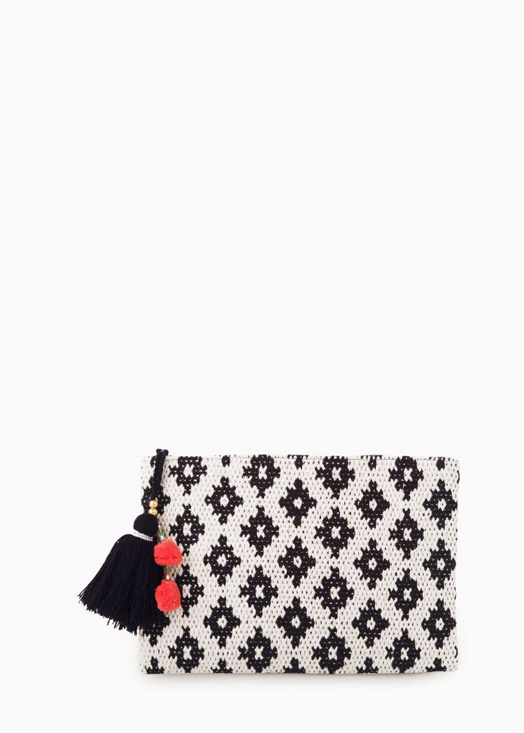 Ethnic tassel clutch