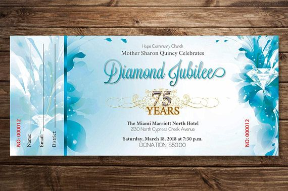 Blue Diamond Jubilee Ticket Publisher Template is for any kind of commemorative or anniversary event. The floral design lends itself to other activities like birthdays, luncheons, concerts, Christmas , Valentines and Easter events and more. Make this ticket template part of your arsenal in