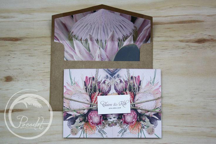 Australian Natives Floral Trifold Wedding Invitation