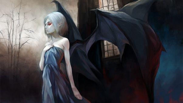 Wallpaper vampire, wings, girl, crypt