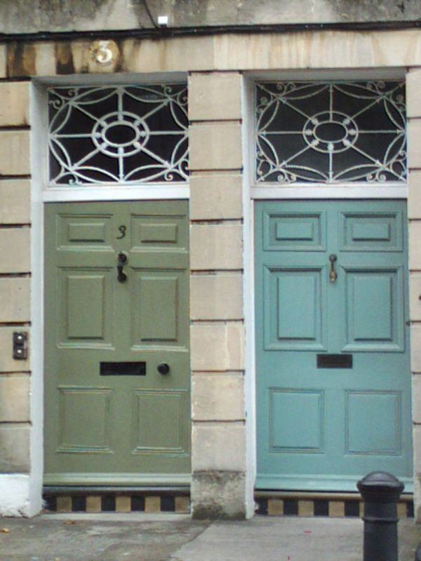 Two front doors in Bath. Colour of door on the right.