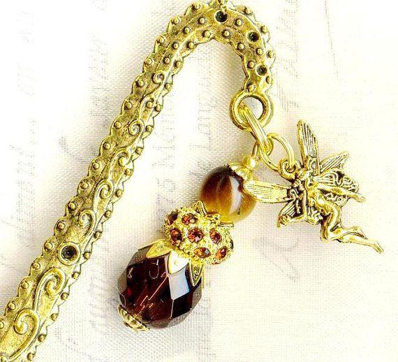 Lesezeichen SCHOKOLADEN FEE Strass TIGERAUGE Festival Kristall Perlen Glas Anhänger gold bronze antik vintage MP196