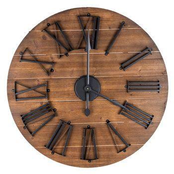 Round Natural Wood & Metal Wall Clock