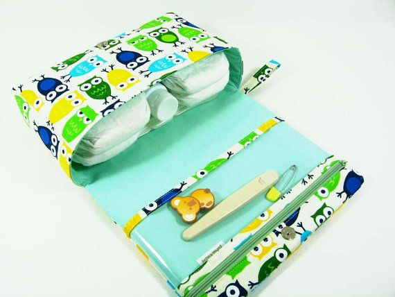 Owls diaper purse small diaper bag green diaper by purseNmore