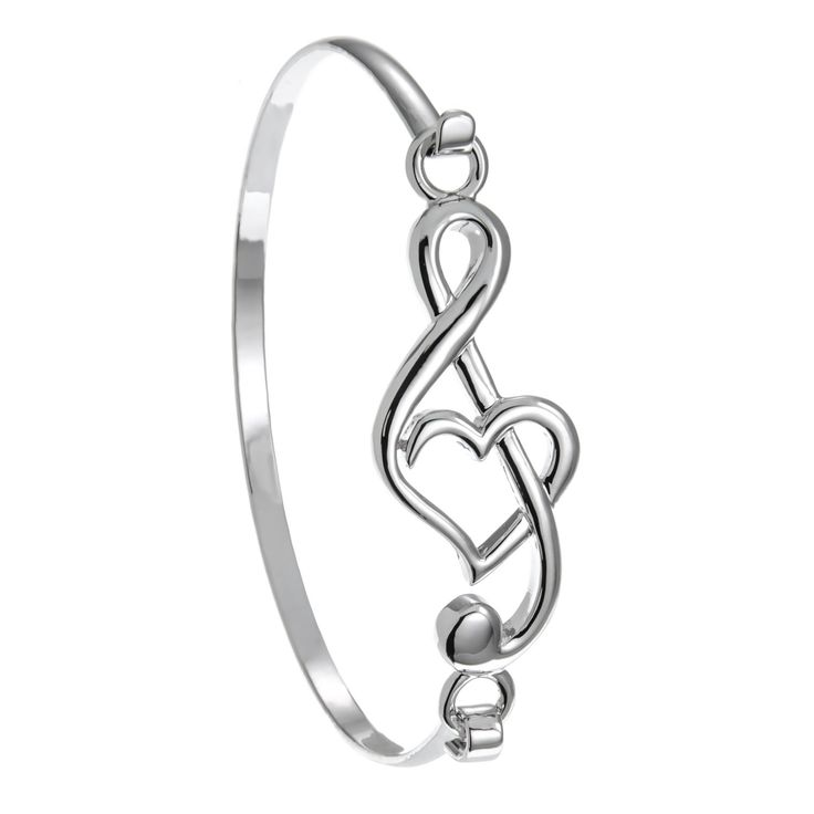 PammyJ Silvertone Music Treble Clef Heart Bangle Bracelet. Here is a sweet and very unique music G clef bracelet perfect for any musician. Diameter measures 2 1/4 inches and will fit up to 7 inch wrist. Lightweight with hook closure for easy on-off. Comes in a gift box. Imported.