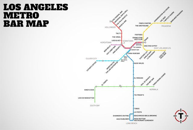 LA's First-Ever Metro Rail Bar Map