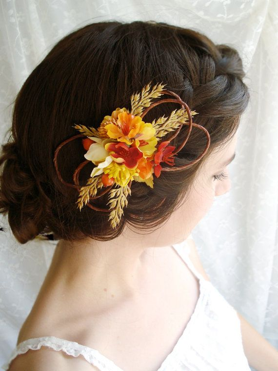 Fall Wedding Hair Clip: I used wheat in our wedding decor pulled from my hubbies wheat field and I loved it