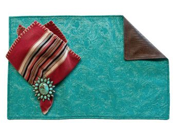 Tooled Turquoise Southwestern Placemat Set Western Kitchen and Dining Decor