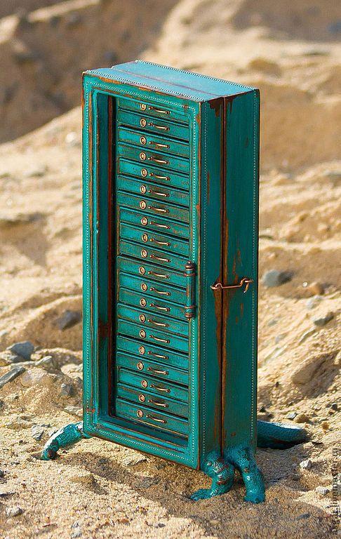 Купить Гайя. Планшетный микрокартотечный вараненый шкаф. - морская волна, бирюзовый, зеленый, варан, микрокартотека
