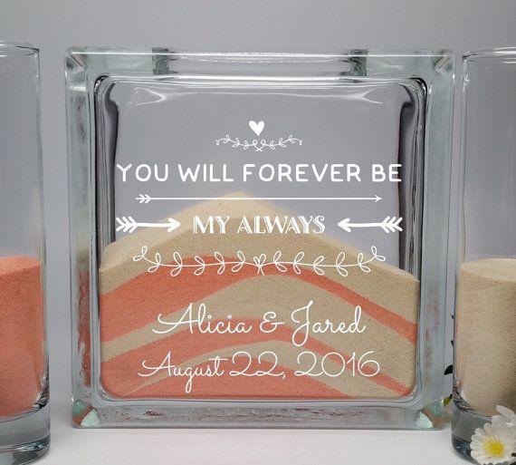 Unity Candle Alternative - Unity Sand Set - Wedding Unity Sand Ceremony Set - Beach Wedding Decor - You Will Forever Be My Always