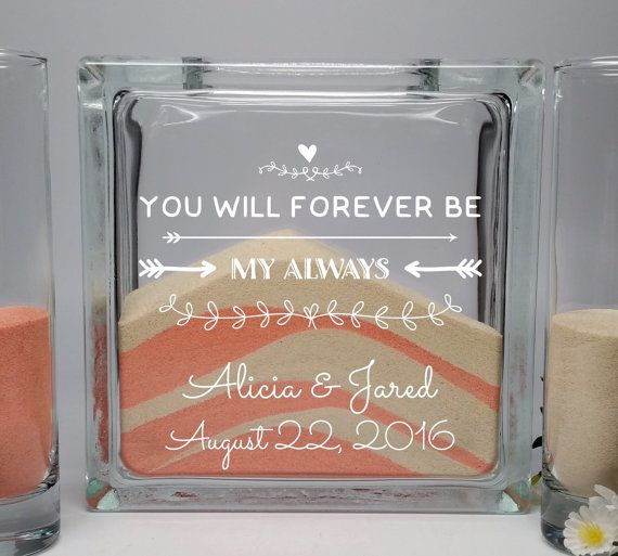 Unity Candle Alternative - Unity Sand Set - Wedding Unity Sand Ceremony Set - Beach Wedding Decor - You Will Forever Be My Always