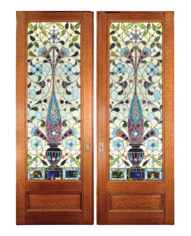 One pair of stained glass pocket doors c 1900 lot 312 for Modern glass pocket doors