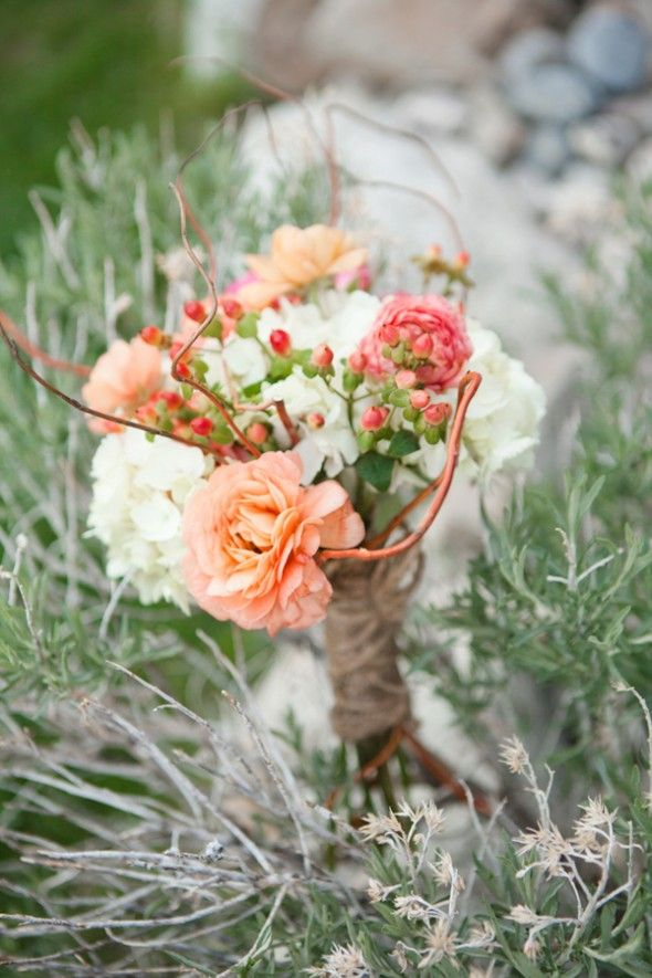 Fall wedding bouquet from rusticweddingchic.com- I love those little pinkish red berries, whatever they are... Anyone? Anyone?
