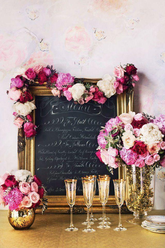 Gilded chalkboard menu + pink blooms